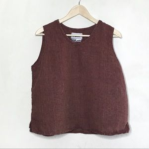 Flax | Red Woven Linen Sleeveless Blouse